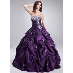 Ball-Gown Sweetheart Floor-Length Taffeta Quinceanera Dress With Ruffle Beading Appliques Lace (021004652)