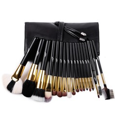 Natural Goat Hair/Pony Hair Pretty 18Pcs Black PU Bag Makeup Supply