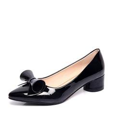 Mulheres PU Salto baixo Bombas Fechados com Bowknot sapatos