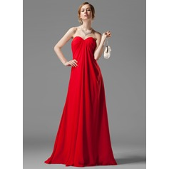 Empire Sweetheart Floor-Length Chiffon Bridesmaid Dress With Ruffle Beading