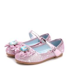 Flicka Stängt Toe sparkling blänker platt Heel Platta Skor / Fritidsskor Flower Girl Shoes med Strass Glittrande Glitter Kardborre
