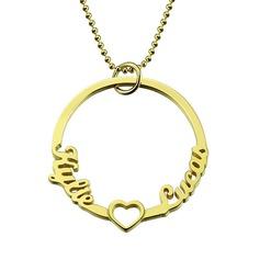 Spersonalizowany 18k pozłacane okrąg Dwa Imię Naszyjnik Z Serce - Prezenty Na Walentynki