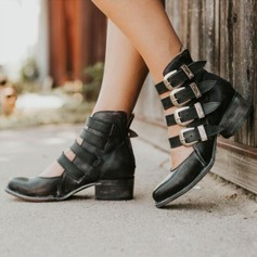 Women's PU Chunky Heel Boots With Buckle shoes (085209685)