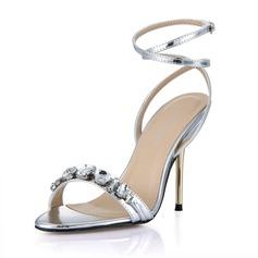 Lackskinn Stilettklack Sandaler Peep Toe Slingbacks med Strass Spänne skor