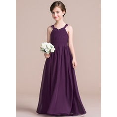A-Line/Princess V-neck Floor-Length Chiffon Junior Bridesmaid Dress With Ruffle Lace (009095082)