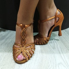 Women's Satin Heels Latin With Rhinestone Hollow-out Dance Shoes