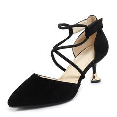 Frauen Veloursleder Spule Absatz Sandalen Absatzschuhe Geschlossene Zehe mit Zuschnüren Schuhe (085168510)