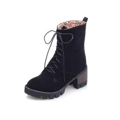 Kvinder Ruskind Lav Hæl Ankelstøvler med Flettet Strop sko