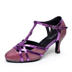 Mulheres Couro Saltos Bombas Salão de Baile com Correia -T Sapatos de dança