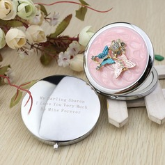 Personalized Butterfly Chrome Compact Mirror With Diamond Rhinestone