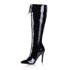 Women's Patent Leather Stiletto Heel Over The Knee Boots With Zipper shoes