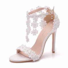 Women's Leatherette Stiletto Heel Peep Toe Sandals With Tassel Applique