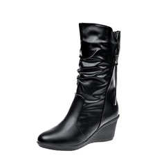 Women's PU Wedge Heel Pumps Boots Mid-Calf Boots With Zipper shoes