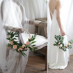 Elegant Round Silk Flower/Silk linen Bridal Bouquets/Decorations -