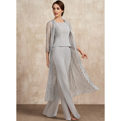 Square Neckline Floor-Length Chiffon Mother of the Bride Dress