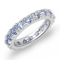 Luminoso Zircon/Platinadas Senhoras Anéis