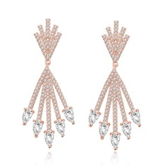 Ladies' Classic Champaign Gold Plated Cubic Zirconia Earrings For Bride/For Bridesmaid/For Mother