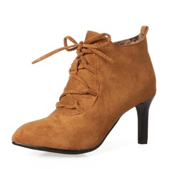 Frauen Veloursleder Stöckel Absatz Absatzschuhe Stiefel Stiefelette mit Zuschnüren Schuhe