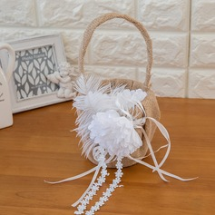 Pure Flower Basket in Satin With Ribbons/Flower