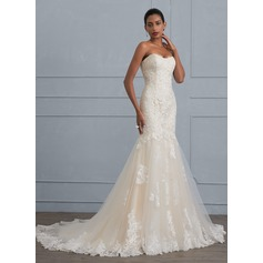 Trumpet/Mermaid Sweetheart Court Train Tulle Lace Wedding Dress (002117031)