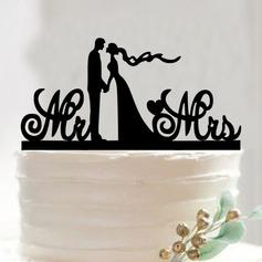 Klassiska par/Mr & Mrs Akryl Tårtdekoration (Säljs i ett enda stycke)