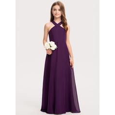 A-Linie V-Ausschnitt Bodenlang Chiffon Kleid für junge Brautjungfern (009208576)