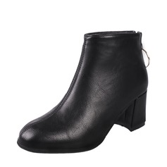 Women's PU Chunky Heel Pumps Boots Ankle Boots With Zipper shoes