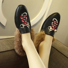 Women's Leatherette Flat Heel Flats Pumps With Fur shoes