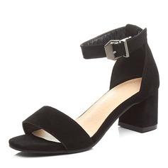 Vrouwen Kunstleer Chunky Heel Sandalen Pumps Peep Toe met Gesp schoenen