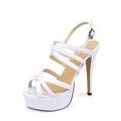 Women's Patent Leather Stiletto Heel Sandals Pumps Platform Peep Toe Slingbacks shoes