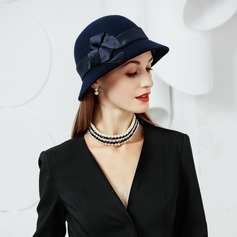 Wool With Silk Flower Bowler/Cloche Hat
