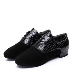 Men's Real Leather Suede Heels Latin Dance Shoes