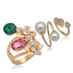 Gorgeous Alloy Rhinestones Imitation Pearls With Imitation Pearl Rhinestone Ladies' Fashion Rings (Set of 3)