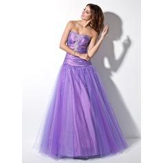 Ball-Gown Sweetheart Floor-Length Taffeta Tulle Prom Dress With Ruffle Beading