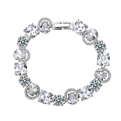 Gorgeous Copper/Zircon/Platinum Plated Ladies' Bracelets