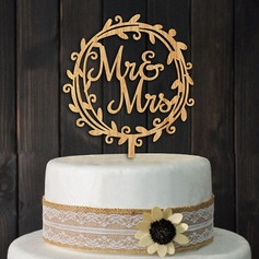 Mr & Mrs Wood Kake Topper (Sett med 2)
