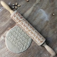 Wooden Kitten Carving Embossed Rolling Pin
