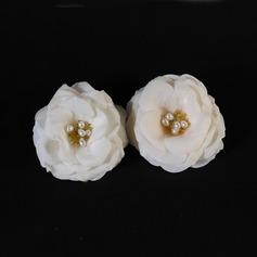 Snygg Konstsilke Blommor & Fjädrar med Venetianska Pärla (Set av 2)