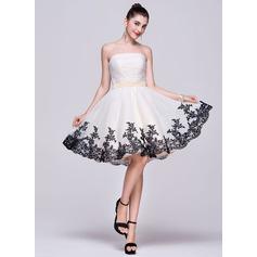 Vestidos princesa/ Formato A Sem Alças Coquetel Organza de Vestido de boas vindas com Pregueado Apliques de Renda