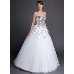 Duchesse-Linie Herzausschnitt Bodenlang Tüll Pailletten Quinceañera Kleid (Kleid für die Geburtstagsfeier)
