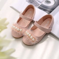 Girl's Round Toe Closed Toe Microfiber Leather Flat Heel Flats Flower Girl Shoes With Stitching Lace Velcro