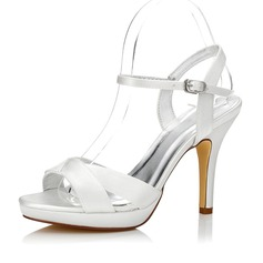 Femmes Satiné Talon stiletto Sandales Escarpins Chaussures qu'on peut teindre