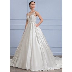 Ball-Gown Scoop Neck Chapel Train Satin Wedding Dress With Pockets