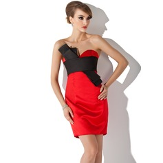 Sheath/Column Sweetheart Short/Mini Satin Cocktail Dress With Sash (016021156)
