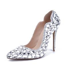Женщины Лакированная кожа Высокий тонкий каблук Закрытый мыс На каблуках с горный хрусталь Каблуки с кристаллами