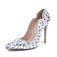 Vrouwen Patent Leather Stiletto Heel Closed Toe Pumps met Strass Kristallen Hak