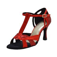 Femmes Satiné Talons Sandales Latin avec Lanière en T Chaussures de danse