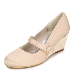 Women's Satin Wedge Heel Closed Toe Pumps Wedges With Button (047095130)