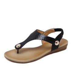 Frauen Kunstleder Flascher Absatz Sandalen mit Niete Gummiband Schuhe