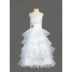A-Line/Princess Floor-length Flower Girl Dress - Organza/Satin Sleeveless V-neck With Ruffles/Beading/Sequins